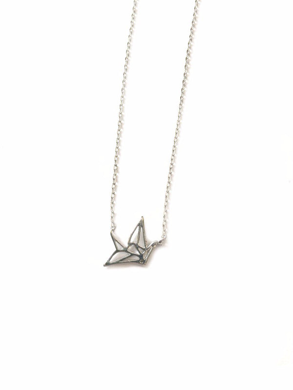 Paper Crane Necklace | Silver Plated Bird Charms | Light Years Jewelry