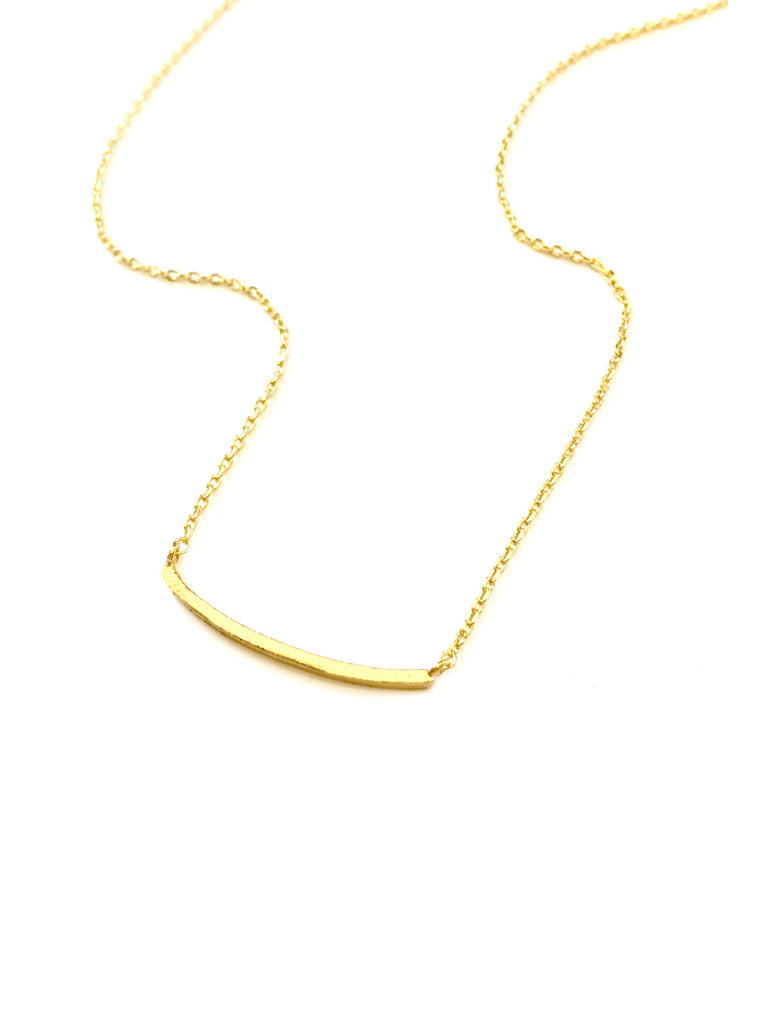 Trendy Brushed Bar Necklace | White Gold Plated | Light Years Jewelry