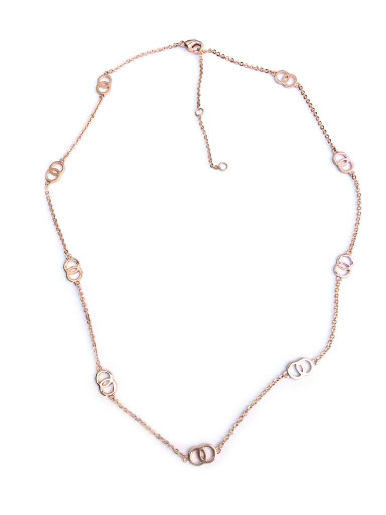 Floating Linked Rings Necklace | Rose Gold Plated Brass | Light Years