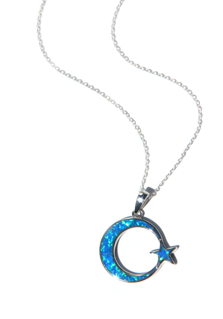 Opal Moon & Star Necklace | Sterling Silver Pendant Chain | Light Years
