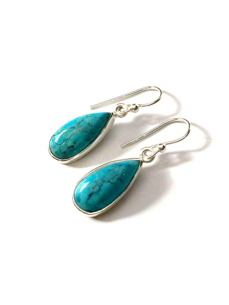 Turquoise Teardrop Dangle Earrings | Sterling Silver | Light Years