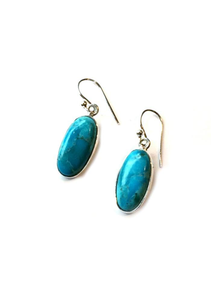 Oval Turquoise Dangle Earrings, $28 | Sterling Silver | Light Years
