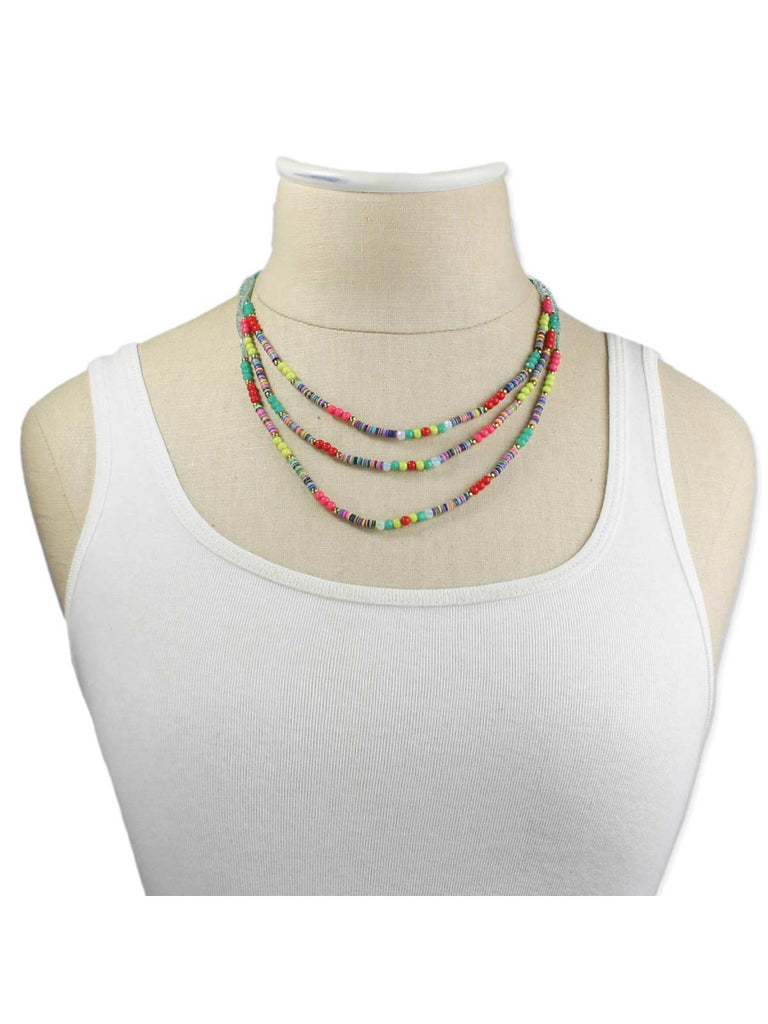 Neon Beaded Layer Necklace | Pink, Yellow, Green | Light Years Jewelry