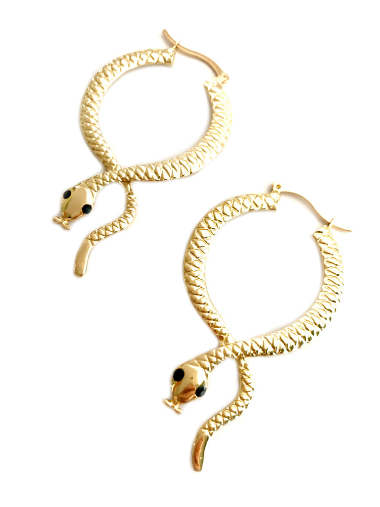 Snake Statement Hoop Earrings | Gold Fashion Jewelry | Light Years