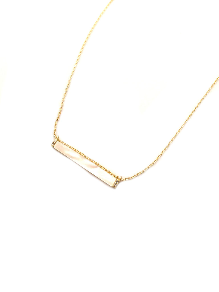 Mother of Pearl & CZ Bar Necklace | Gold Chain & Pendant | Light Years