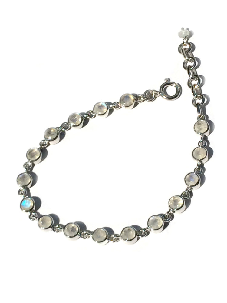 Moonstone Link Bracelet, $72 | Sterling Silver | Light Years Jewelry