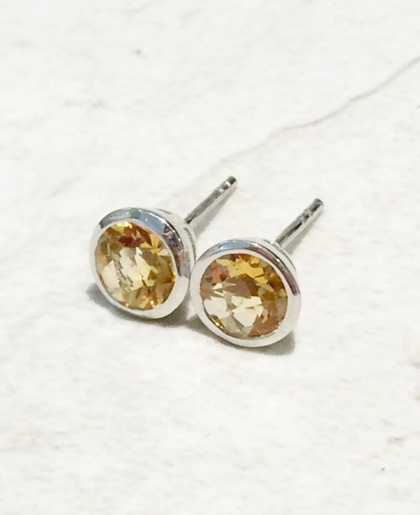 Faceted Citrine Posts | Sterling Silver Stud Earrings | Light Years
