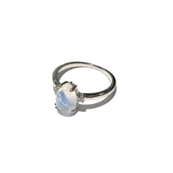 Moonstone and CZ Ring | Sterling Silver Size 5 6 | Light Years Jewelry