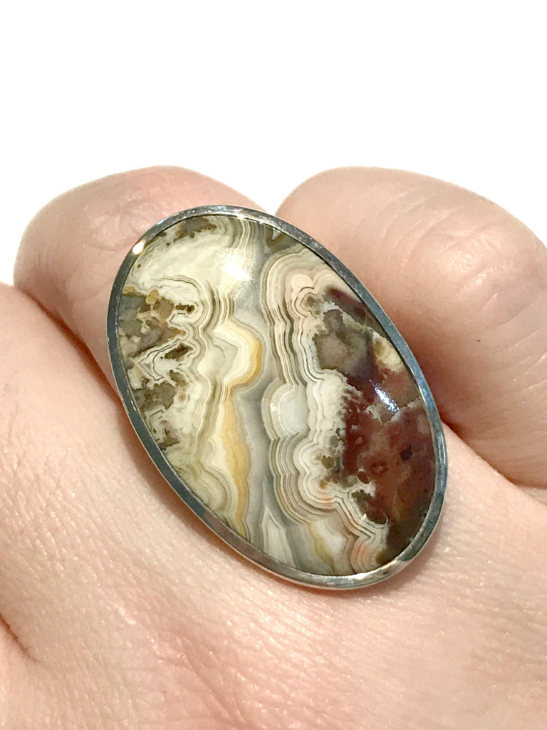Crazy Lace Agate Statement Ring | Sterling Silver Size 7 8 | Light Years