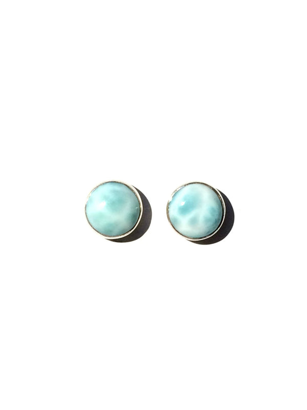 Round Larimar Posts, $24 | Sterling Silver Studs | Light Years Jewelry