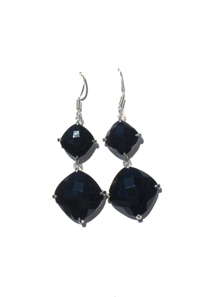 Cushion Cut Onyx Dangles, $24 | Sterling Silver Earring | Light Years
