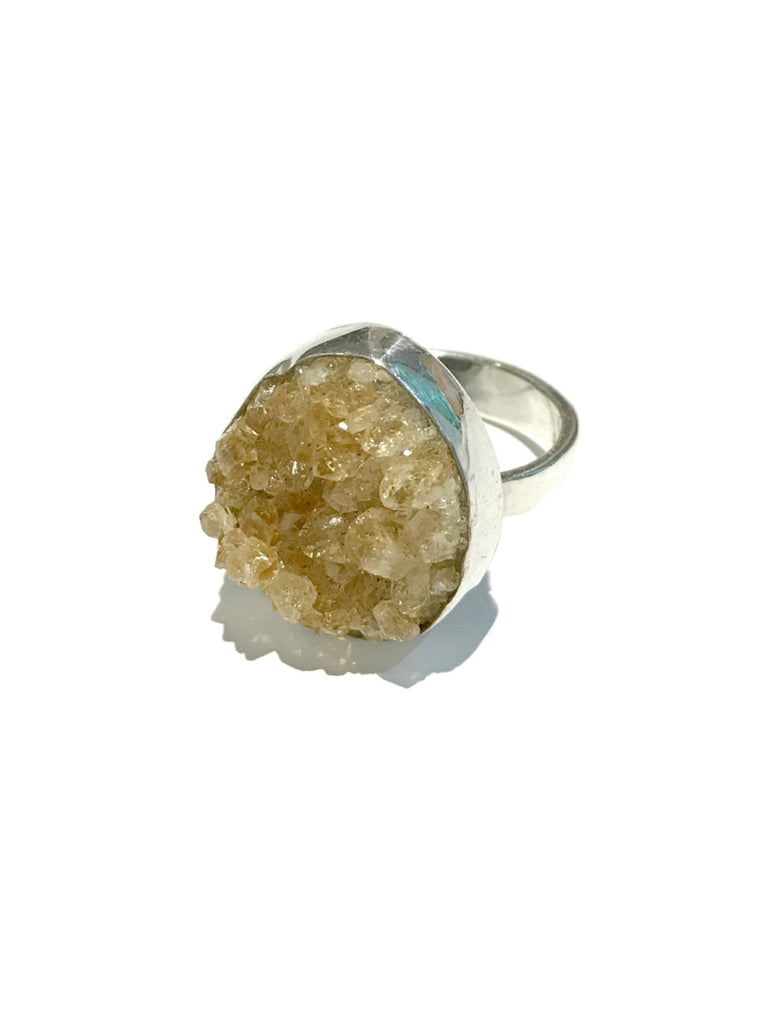 Citrine Druzy Ring | Sterling Silver Size 7 8 | Light Years Jewelry