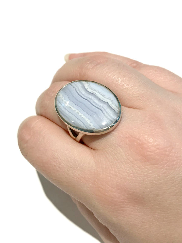 Blue Lace Agate Ring | Size 8 Gemstone Sterling Silver | Light Years