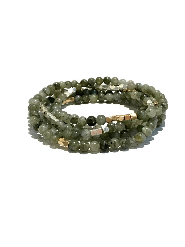 Beaded Labradorite Wrap Bracelet | Stone Necklace | Light Years Jewelry