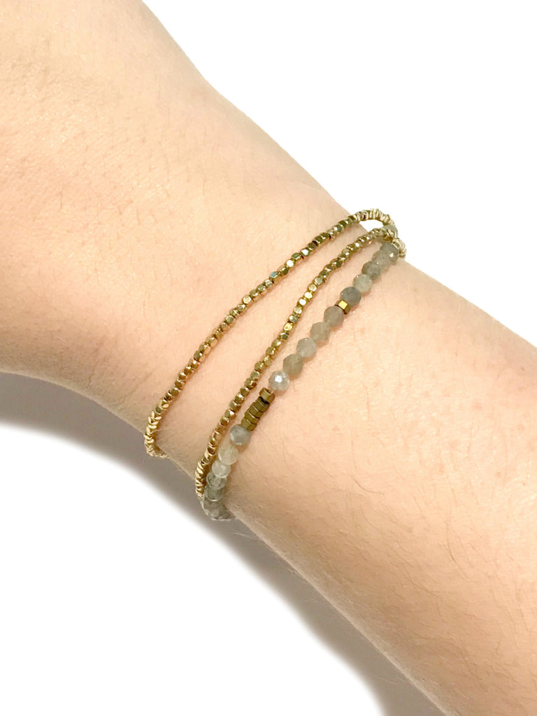 Faceted Labradorite Wrap Bracelet | Gold Beaded Necklace | Light Years