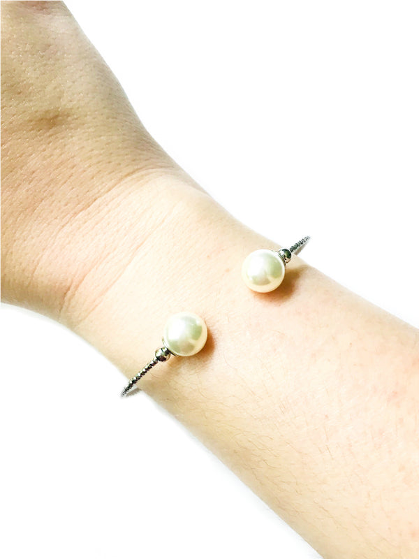 Double Ended Pearl Bracelet | Silver Fashion Stacking Cuff | Light Years
