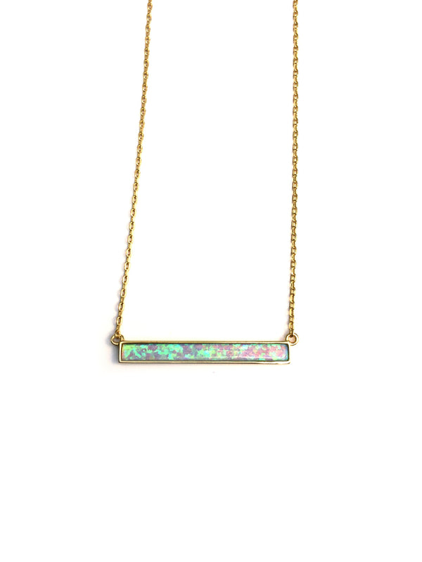 Opal Bar Necklace | Sterling Silver Gold Vermeil | Light Years Jewelry