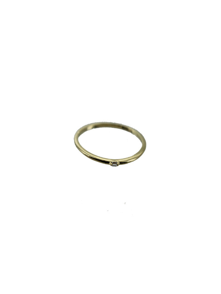 Tiny CZ Baguette Ring | Sizes 6 7 Gold Plated Band | Light Years Jewelry
