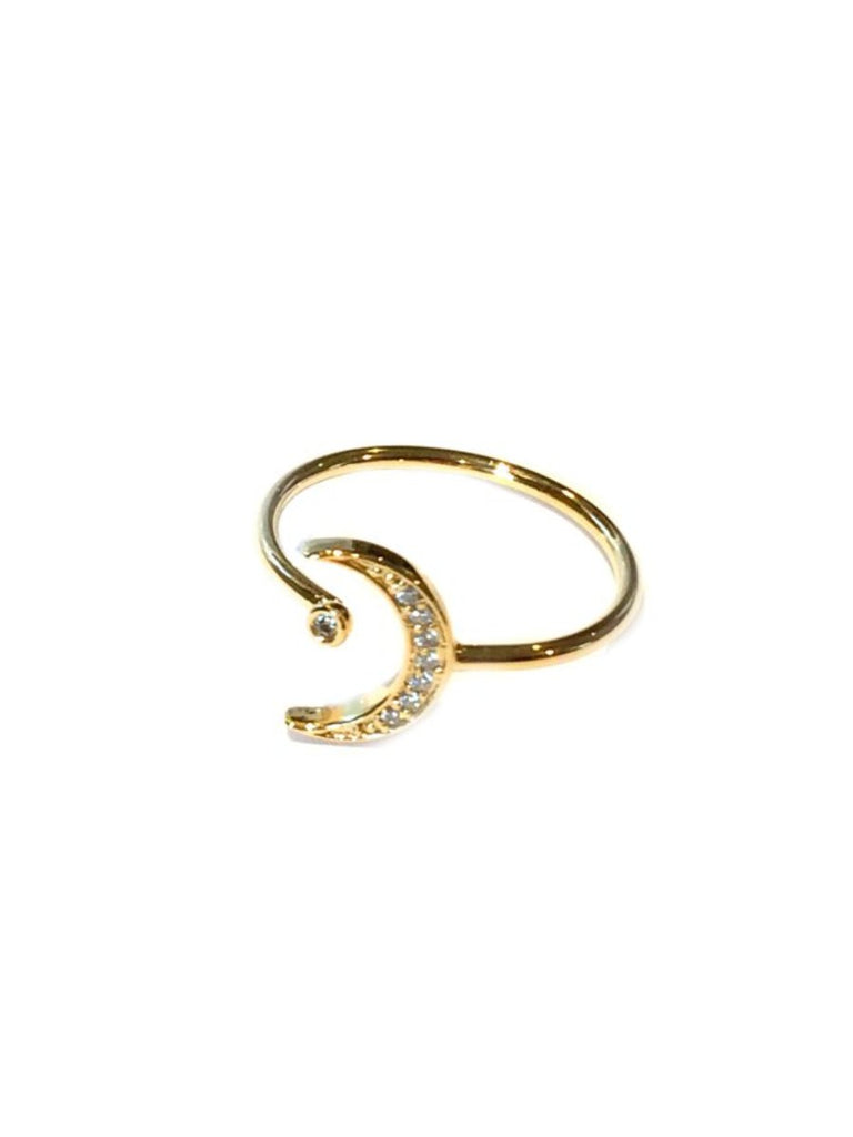 CZ Crescent Moon & Dot Ring | Adjustable Gold Plated | Light Years