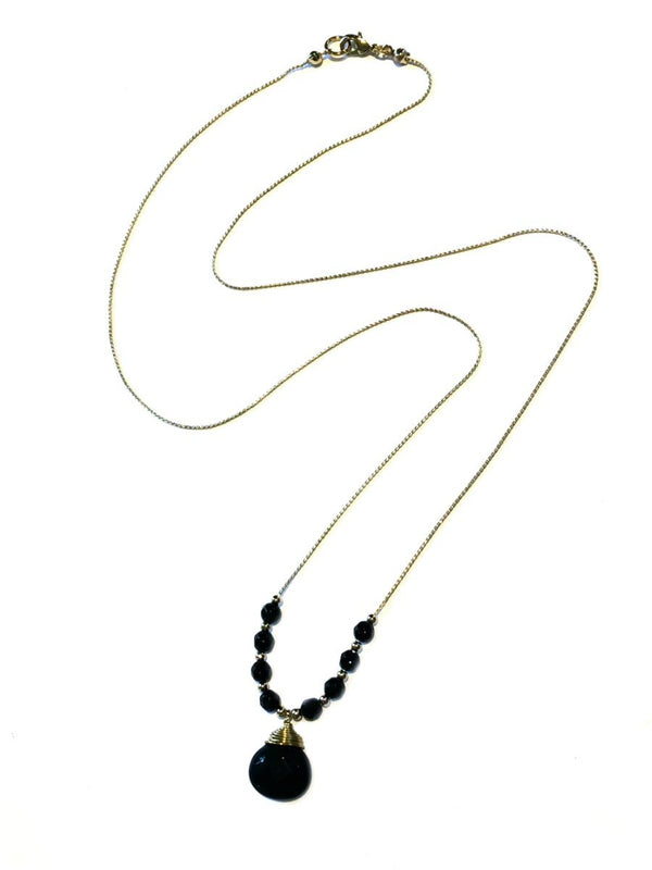 Beaded Stone Necklace | Quartz Onyx Gold Plated | Light Years Jewelry