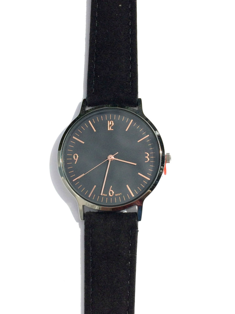 Classy Suede Watch | Black Brown Leather Band | Light Years Jewelry