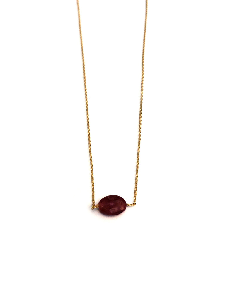 Dainty Oval Gemstone Necklace | Gold Plated Ruby | Light Years Jewelry
