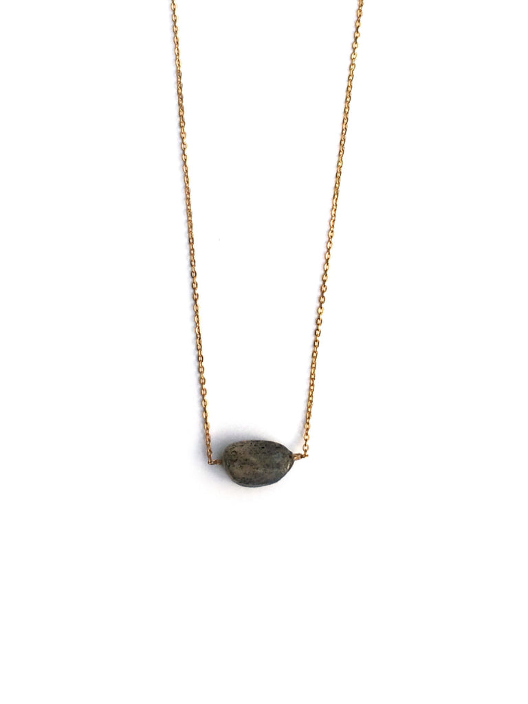 Dainty Oval Gemstone Necklace | Gold Plated Labradorite | Light Years