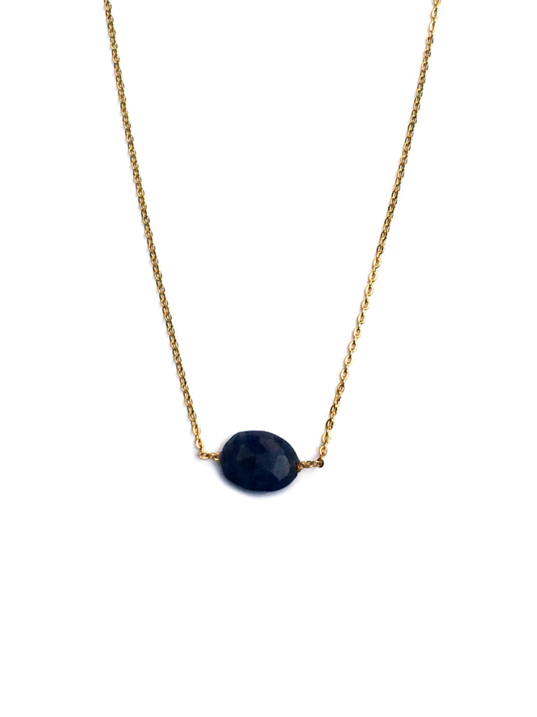 Dainty Oval Gemstone Necklace | Gold Plated Lapis | Light Years