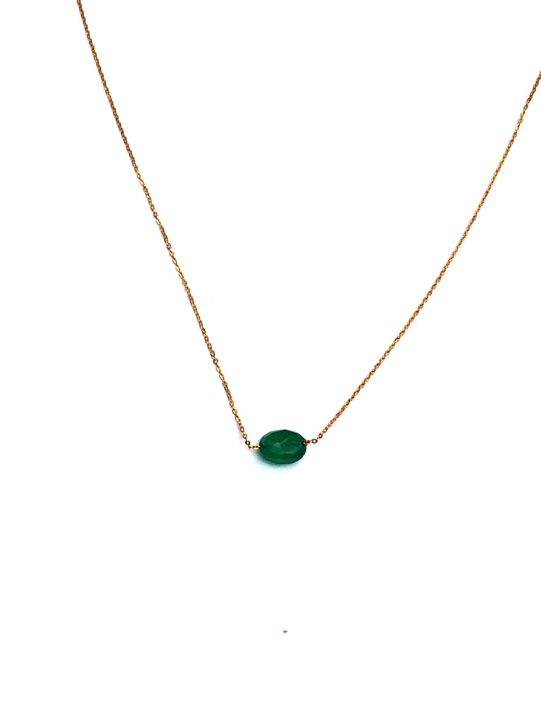 Dainty Oval Gemstone Necklace | Gold Plated Emerald | Light Years