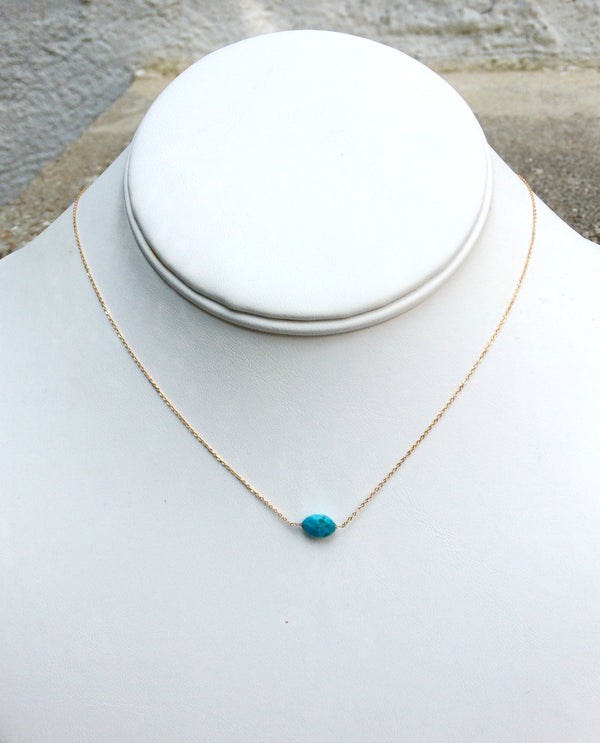 Dainty Oval Gemstone Necklace | Gold Plated Turquoise | Light Years