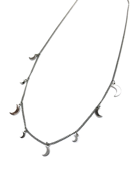 Dangling Moons Necklace | Silver Plated Charms | Light Years Jewelry