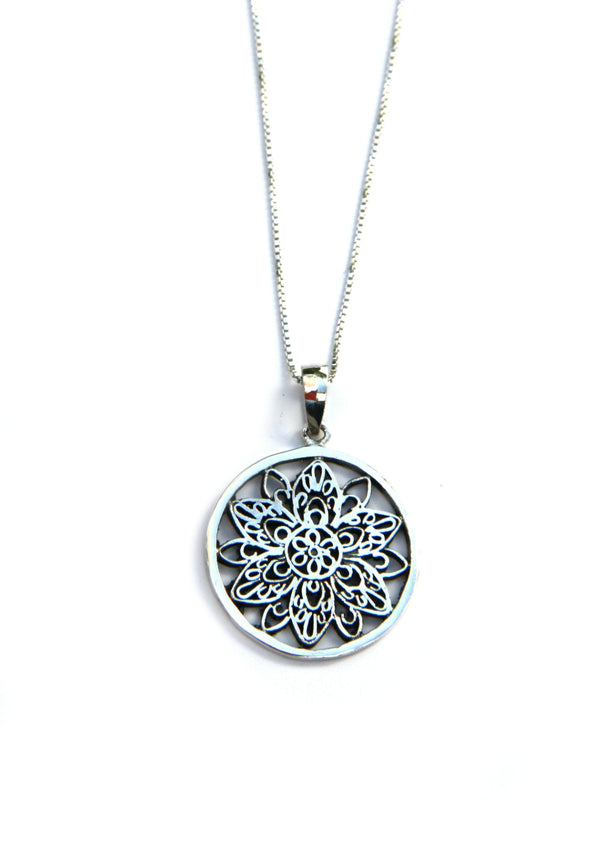 Silver Mandala Necklace | Sterling Pendant & Chain | Light Years Jewelry