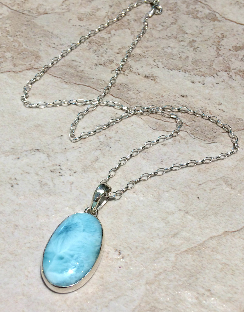 Larimar pendant necklace sterling silver chain light years jewelry aloadofball Image collections