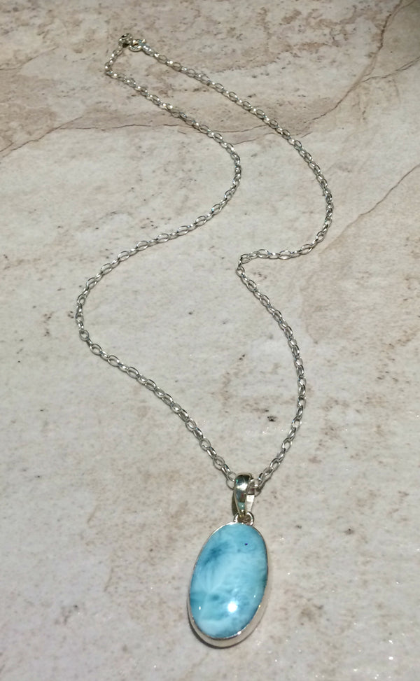 Larimar Pendant Necklace | Sterling Silver Chain | Light Years Jewelry