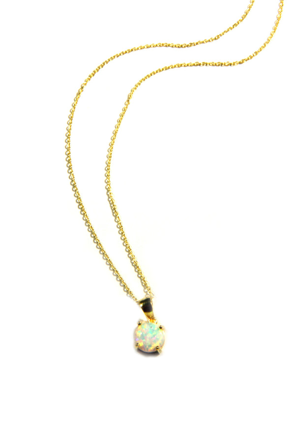 Elegant White Opal Necklace | Sterling Silver Gold Vermeil | Light Years