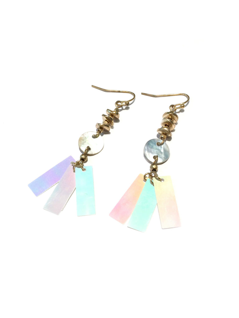 Iridescent Spangles Shell Dangles | Gold Fashion Earrings | Light Years