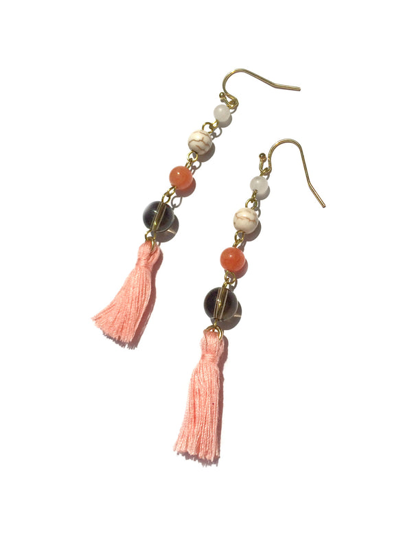 Coral Beaded Tassel Earrings | Gold Fashion Dangles | Light Years