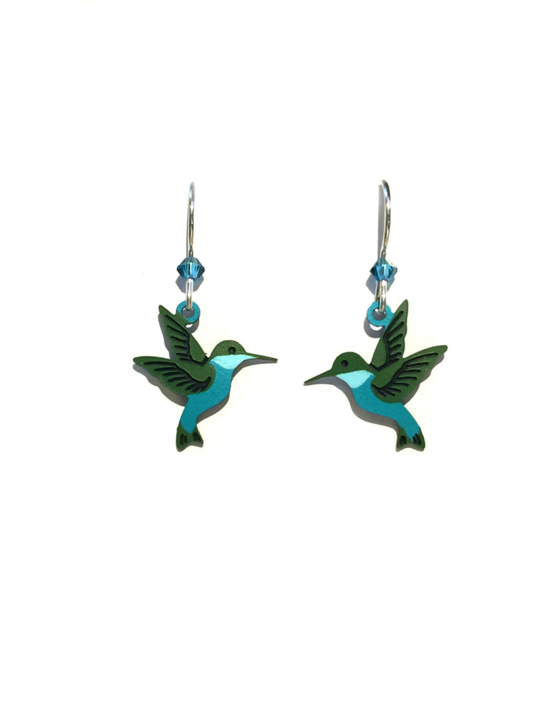 Emerald Hummingbird Dangles | Sterling Silver Earrings | Light Years