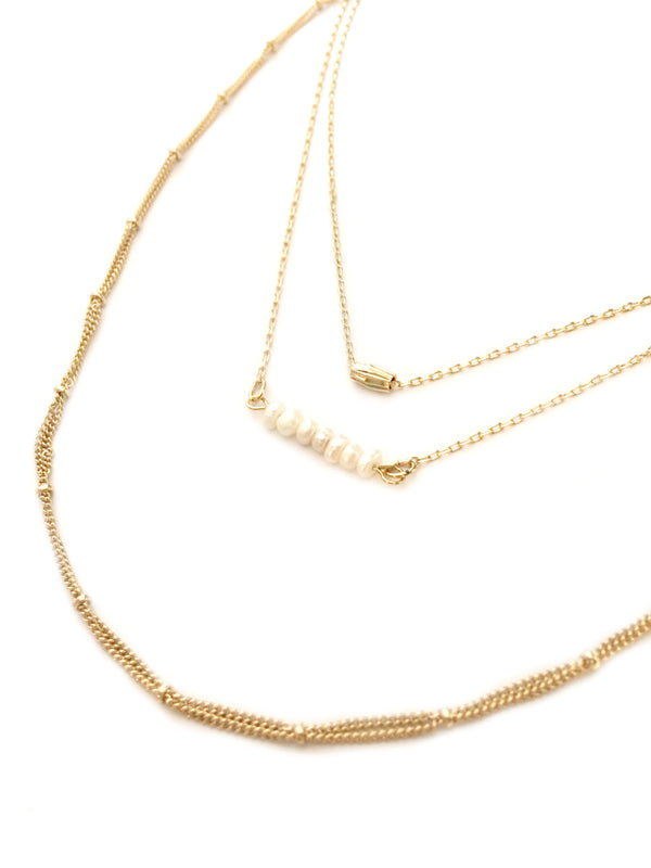 Layered Chain & Pearl Necklace | Gold Fashion | Light Years Jewelry