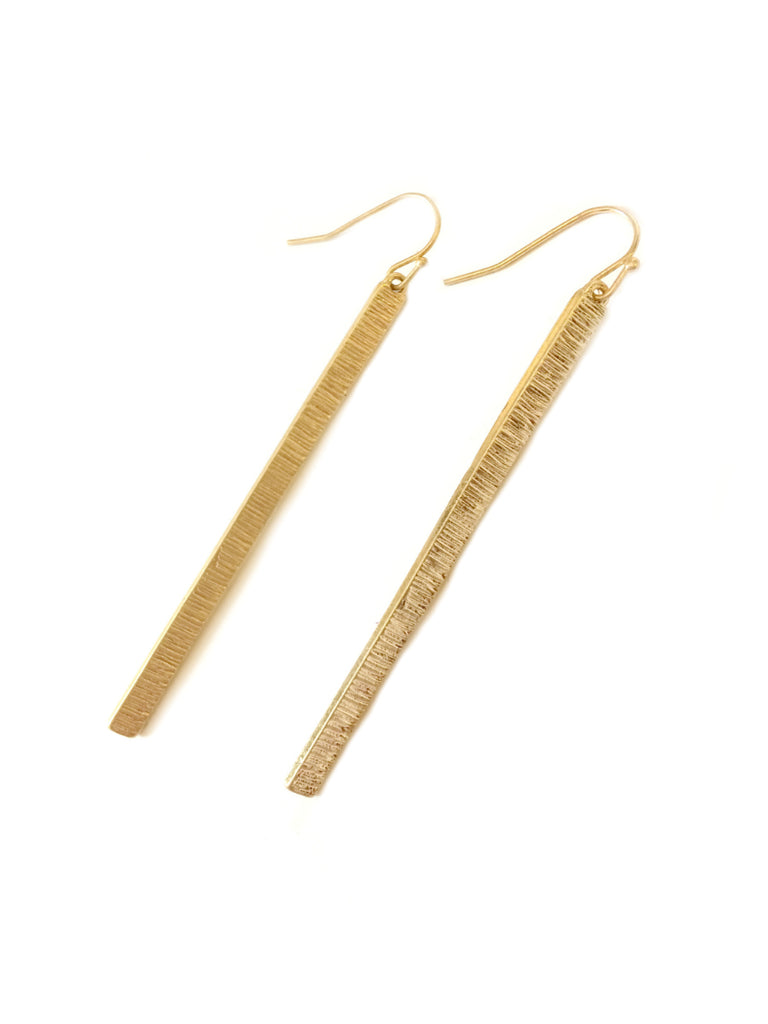 Long Textured Bar Earrings | Gold Plated Fashion Dangles | Light Years