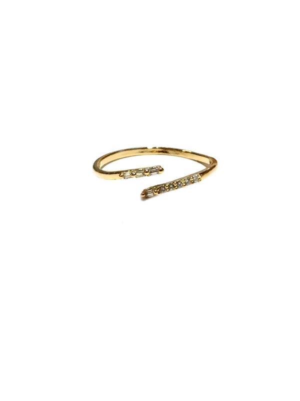 CZ Crystal Bypass Ring | Gold Plated Band Size 6 | Light Years Jewelry