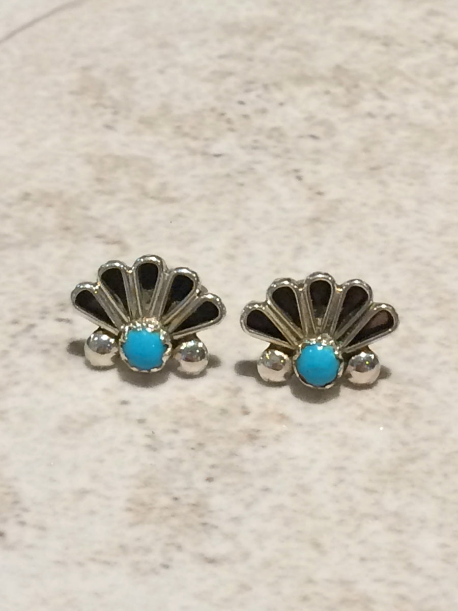 7d1987a82 Handmade Zuni Turquoise Posts | Sterling Silver Studs | Light Years