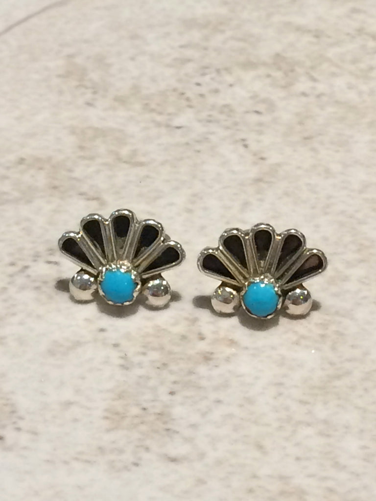 Handmade Zuni Turquoise Posts | Sterling Silver Studs | Light Years