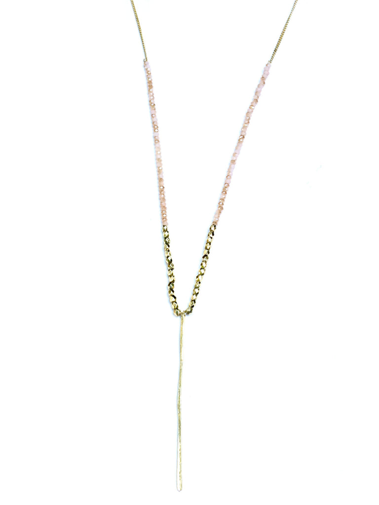 Beaded Bar Necklace | Gray, Blue, Peach Fashion Crystal | Light Years