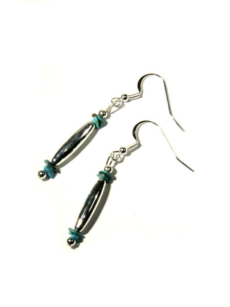 Turquoise & Silver Navajo Dangles | Genuine Native American Jewelry