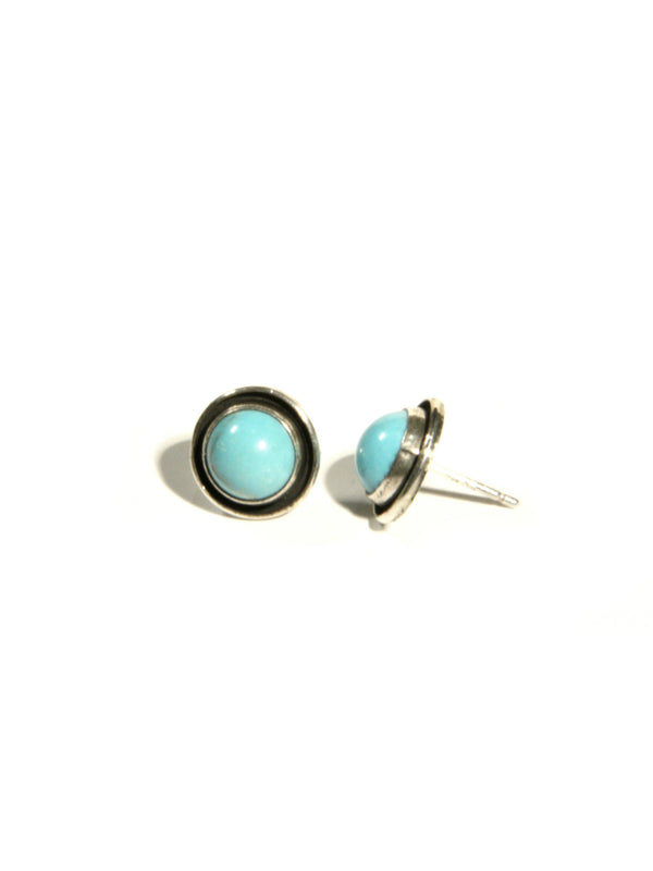Handmade Round Turquoise Posts | Navajo Sterling Silver | Light Years