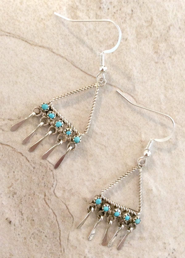 Handmade Turquoise Fringe Earrings