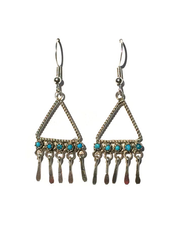 Handmade Turquoise Fringe Earrings | Genuine Navajo Dangles | Light Years