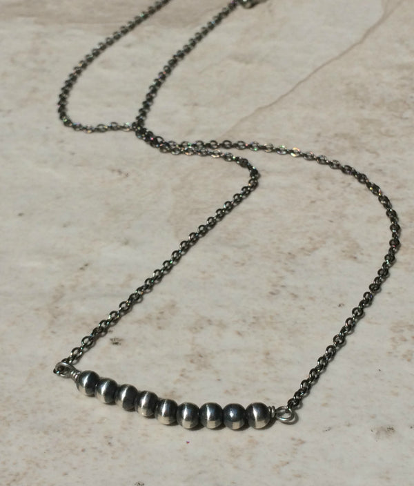 Oxidized Silver Beaded Necklace | Sterling Silver Navajo | Light Years