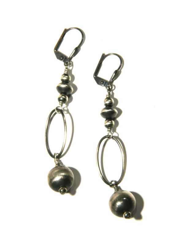 Oxidized Silver Ball Drop Earrings